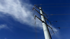 Power Lines with Blue Sky Timelapse Stock Footage