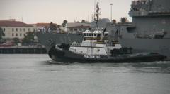 South Korean Navy Destroyer Enters Port Stock Footage