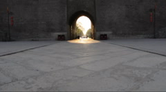 Ancient city wall and gate in the city of Xian, China. - stock footage