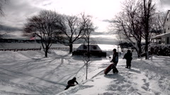 Kids Tubing In The Snow Stock Footage
