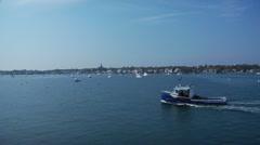 Lobster Boat Entering Harbor Stock Footage