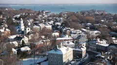 Extreme Wide Shot of Small New England Town Stock Footage