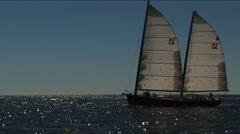 Double mast sailboat in Atlantic Ocean Stock Footage