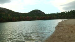 Still and pan of lake in North Conway- New Hampshire Stock Footage