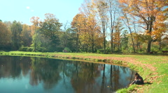 Still shot of pond in New England in Fall Stock Footage