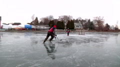 Pond Hockey SloMo Stock Footage