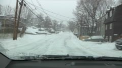 Snow Driving POV through dash in car Stock Footage