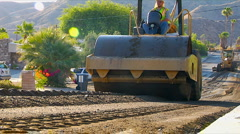 Steamroller Street Construction Stock Footage