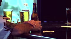 Guy at Bar Drinking Beer Stock Footage