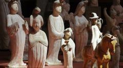 Ancient palace maid Sculpture in china - stock footage