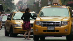 Woman Entering Taxi Stock Footage