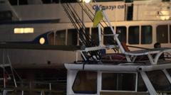 Yachts on a night mooring of Yalta. - stock footage