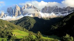 Cloudscape Mountains and Alpine pastures, Italian Dolomites, Italy Stock Footage