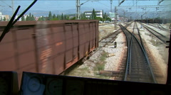Train in the move, view from the driver's cab Stock Footage