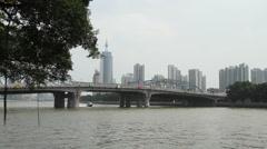 Haizhu Bridge and Guangzhou Skyline Stock Footage