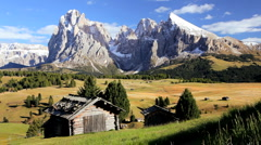 Cloudscape Mountains and Alpine pastures, Seiser Aim, Italian Dolomites, Italy Stock Footage