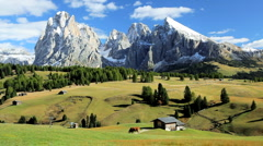 Mountains and Alpine pastures, Seiser Aim,Italian Dolomites, Italy Stock Footage