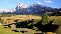Hiker amidst the Italian Dolomites, Seiser Aim, Italy Stock Footage
