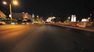 Driving Las Vegas Blvd - Car Mounted Camera - Time Lapse Stock Footage