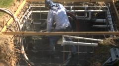 Construction worker applying Gunite Shotcrete Wide Stock Footage