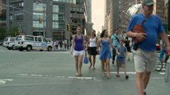 Busy NYC Crosswalk - Time Lapse - Clip 1 - stock footage