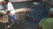Stock Video Footage of Construction worker applying Gunite Shotcrete