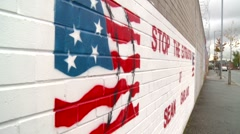 Belfast mural of US Flag Stock Footage