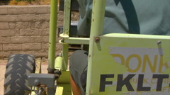 Fork lift delivers paver stones Stock Footage