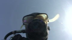 POV Diver entering the water from a boat - stock footage