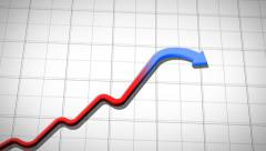 Graph rising and falling, HD 1080. Stock Footage