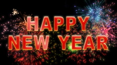 happy new year fireworks 3d HD - stock footage
