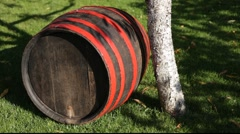 Stock Video Footage of wood barrel by tree