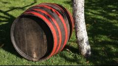wood barrel by tree - stock footage