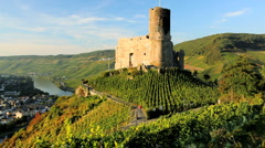 Landshut castle and vineyards above Mosel, Bernkastel, Kues, Germany Stock Footage