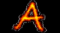 Fire letter A graffiti - stock footage