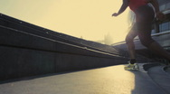 Stock Video Footage of Runner on steps City hall London, UK, Slow motion, PAN up, wide shot
