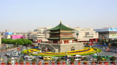 Bell Tower in Xi'an, China Stock Footage