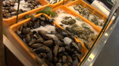 Fresh Seafood at a Farmers Market Stock Footage