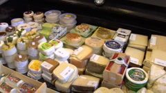 Cheese counter at a Farmers Market Stock Footage