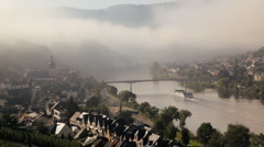 Morning mist Zell Mosel, Germany Stock Footage