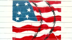 Painting of US Flag with barbed wire Stock Footage