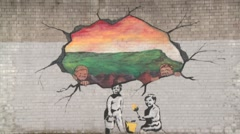 Mural on Peace Wall, Belfast Stock Footage