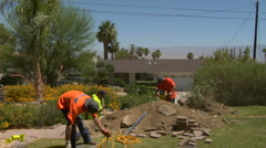 Construction workers repair sewer line Time Lapse Stock Footage