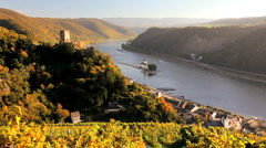 Castle Gutenfels, and Castle Pfalzgrafenstein, Rhine Valley, Germany Stock Footage