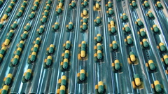 Conveyor for the production of medical capsules and medicines Stock Footage