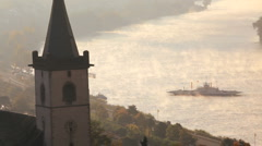 Car ferry in the early morning mist, Lorch, Rhine Valley, Germany Stock Footage