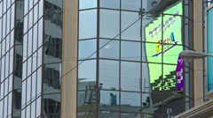 Reflection of giant LED screens medium, Toronto, Ontario Stock Footage