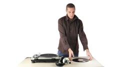 Dj vinyl music disco club turntables Stock Footage