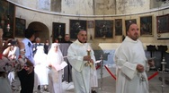 Act of worship in Church of the Nativity in Bethlehem, Israel Stock Footage
