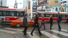 People traffic and street-cars Stock Footage